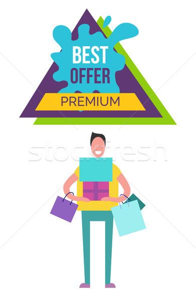 Legjobb ajánlat prémium plakát mosolyog férfi Stock fotó © robuart