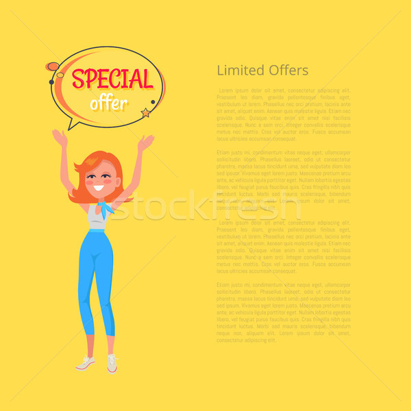 Limited Offers Poster with Woman Holding Hands Up Stock photo © robuart