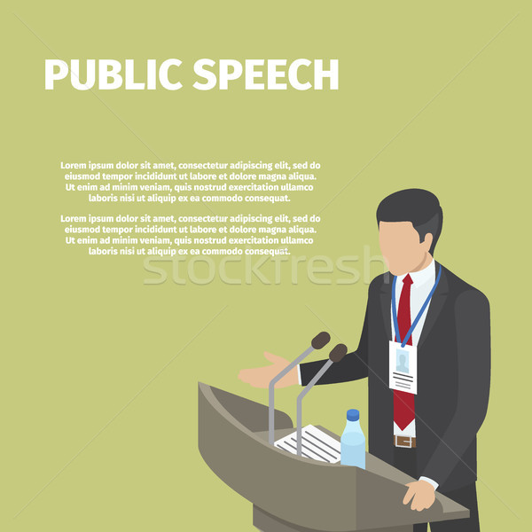 Businessman Stands behind Podium on Public Speech Stock photo © robuart