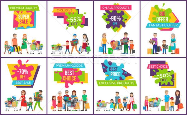 Wspaniały sprzedaży fantastyczny oferta zestaw plakaty Zdjęcia stock © robuart
