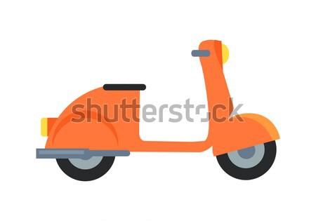 Ikon motor moped narancs fekete ülés Stock fotó © robuart