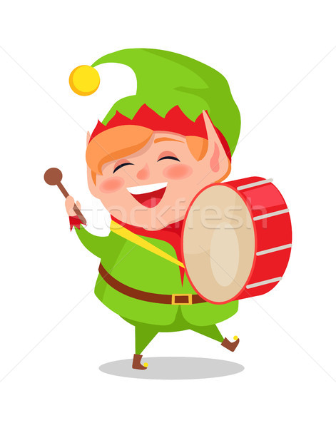 Smiling Happy Elf Playing Drum Musical Instrument Stock photo © robuart
