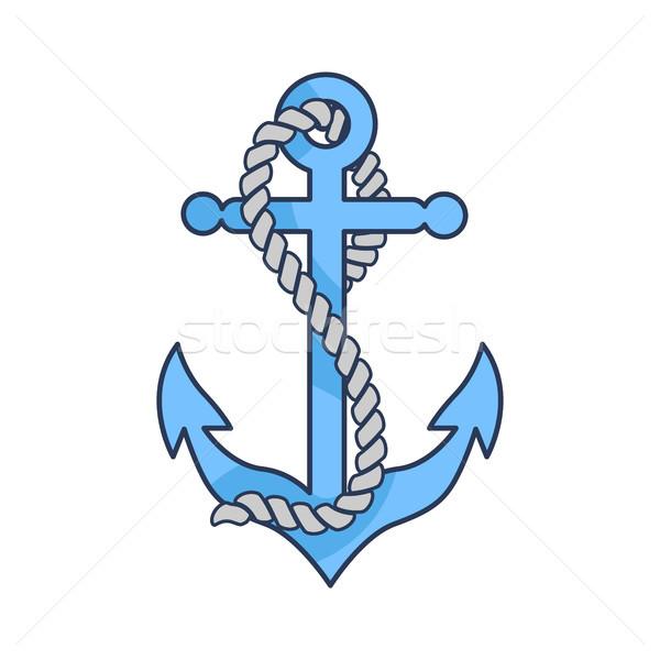 Azul pesado âncora corda isolado ilustração Foto stock © robuart