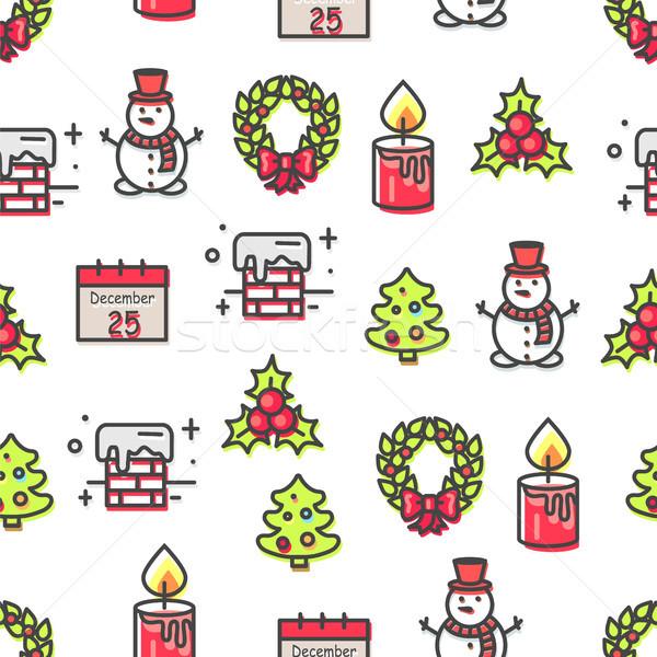 Stock fotó: Szett · karácsony · szimbólumok · végtelen · minta · izolált · fehér