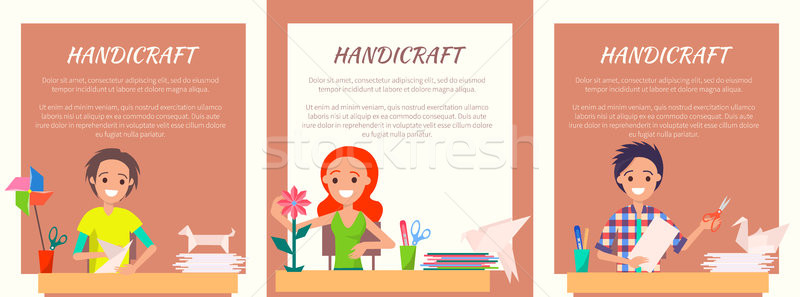 Handicraft Banners with People Making Origami Set Stock photo © robuart