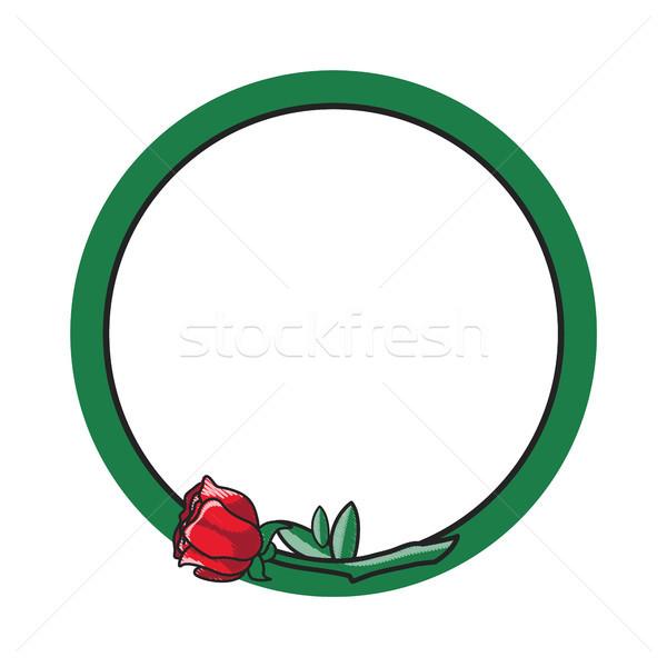 Stock fotó: Zöld · kör · virág · poszter · fektet · minimalista