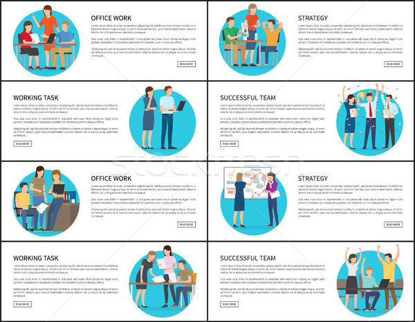 Acht kantoorwerk strategie werken team kaarten Stockfoto © robuart