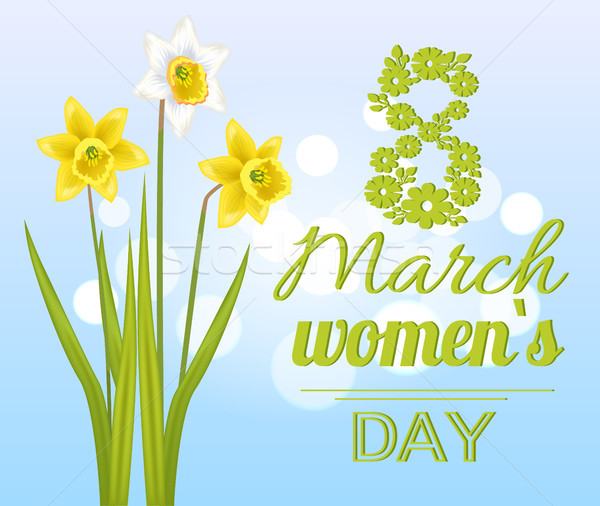 8 March Womens Day Poster with Realistic Daffodils Stock photo © robuart