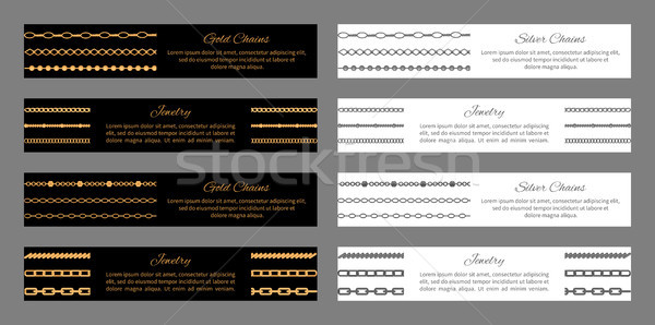 Gold and Silver Chains Jewelry Vector Illustration Stock photo © robuart