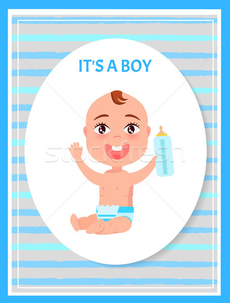 Erkek poster oval çerçeve mutlu bebek Stok fotoğraf © robuart