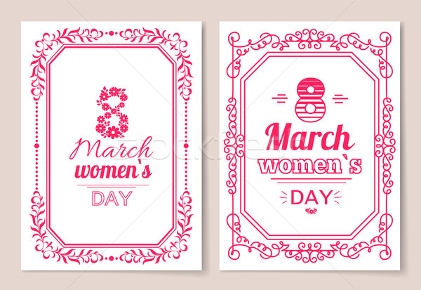 Womens Day Postcard with Big Sign and Swirly Frame Stock photo © robuart