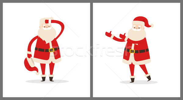 Santa Clauses Set Tired Father Christmas Icons Stock photo © robuart