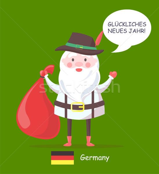 Foto stock: Alemanha · papai · noel · texto · cartaz · velho · vermelho