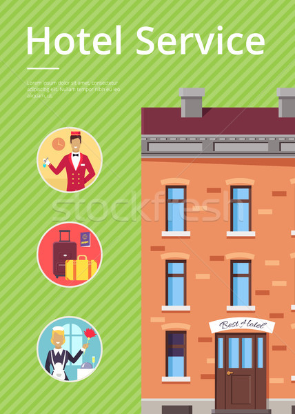 Hotel Services in Circles near Building Poster Stock photo © robuart