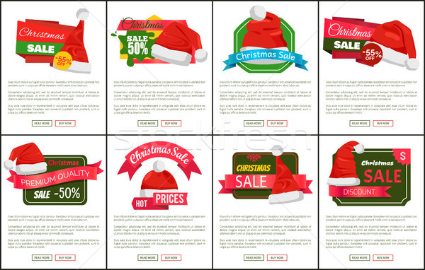 Discounts Tags Santa Claus hats Promo Labels Xmas Stock photo © robuart