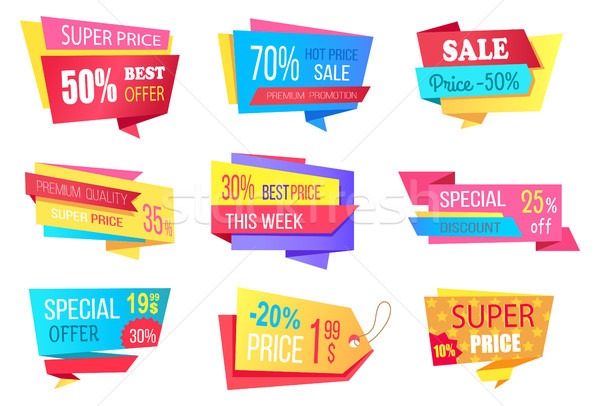 Lot of Super Price 50 Off Best Discount Banners Stock photo © robuart