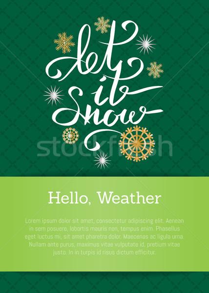 雪 碑文 スノーフレーク ハロー 天気 緑 ストックフォト © robuart