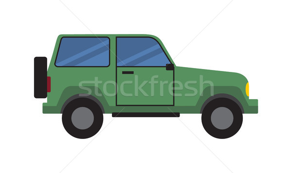 Jeep Green Sport Off-Road Car Side View Icon Stock photo © robuart