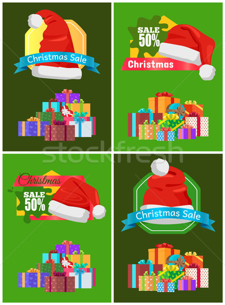 Sale 50 for All Christmas Goods Promo Posters Stock photo © robuart