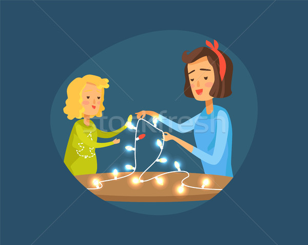 Mother and Daughter, Garland Vector Illustration Stock photo © robuart