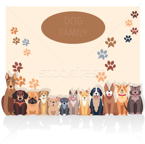 Dog Family Banner in Purebred Concept. Vector Stock photo © robuart