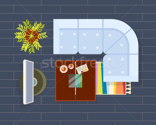 Sala de estar planejamento escuro sofá televisão conjunto Foto stock © robuart