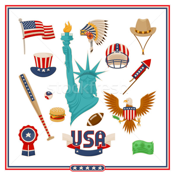 USA land symbolen geïsoleerd illustraties ingesteld Stockfoto © robuart