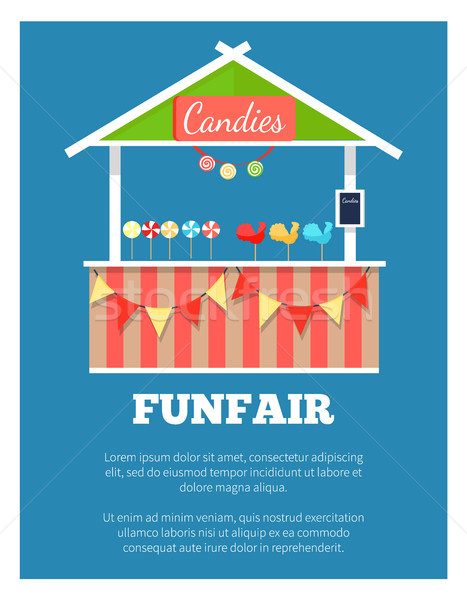 Funfair Poster with Market Candies Counter, Vector Stock photo © robuart