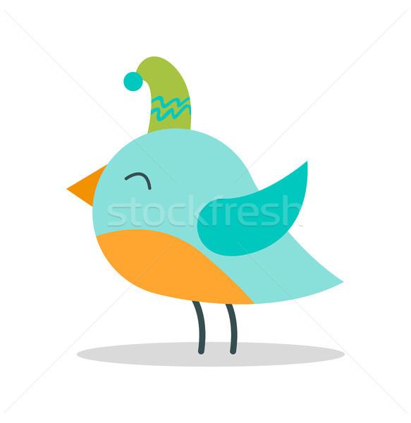 Ptaków zielone hat plakat Zdjęcia stock © robuart
