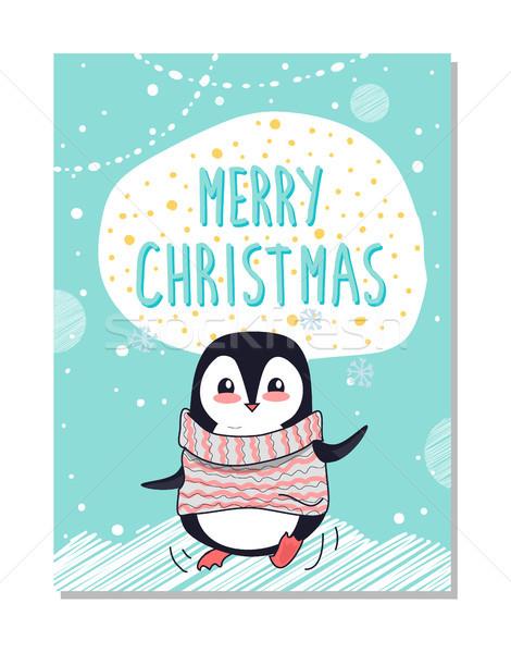 Joyeux Noël félicitation lumineuses carte postale heureux Photo stock © robuart