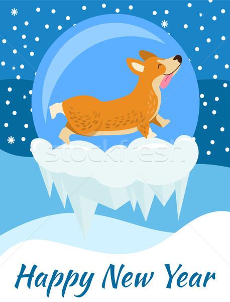 Szczęśliwego nowego roku gratulacja plakat niebieski pokryty objętych Zdjęcia stock © robuart