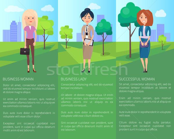 Сток-фото: деловой · женщины · успешный · Lady · три · дамы