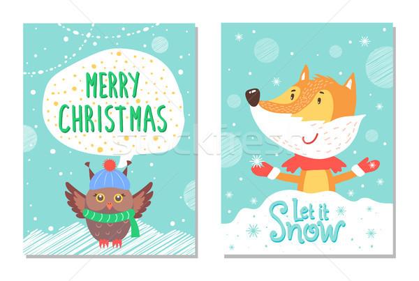 Joyeux Noël accueil cartes Fox chouette Photo stock © robuart