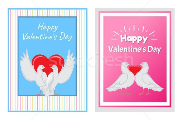 Bianco coppie cuore illustrazioni set Foto d'archivio © robuart