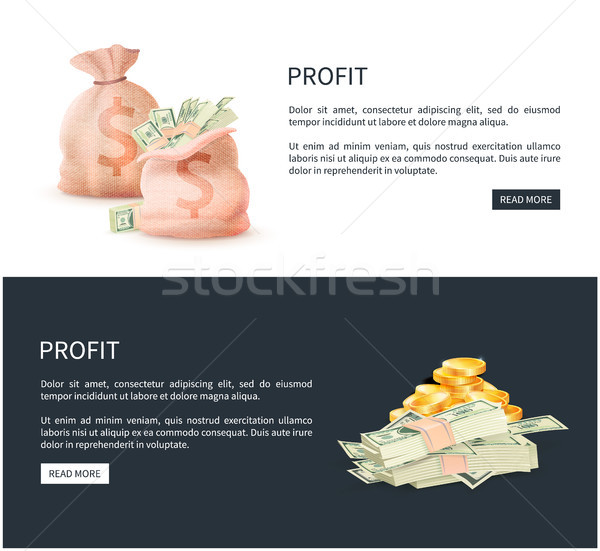 Profit Web Posters Set Sacks Full of Money Vector Stock photo © robuart