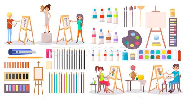 Trabalhar conjunto ilustração jovem sorridente Foto stock © robuart