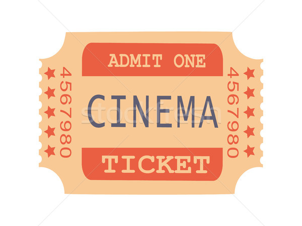 Um cinema bilhete amostra texto números Foto stock © robuart