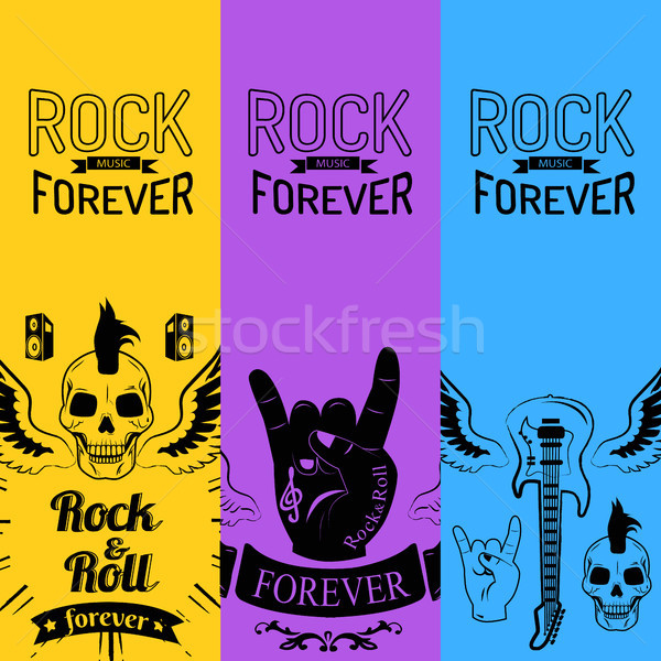 Rock Music Forever Collection of Colorful Posters Stock photo © robuart