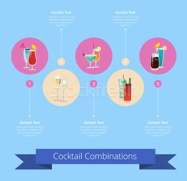 Cocktail Combinations Poster with Alcohol Beverage Stock photo © robuart