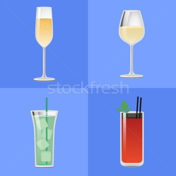 Set Alcohol Drinks Fizzy Champagne Glass of Wine Stock photo © robuart