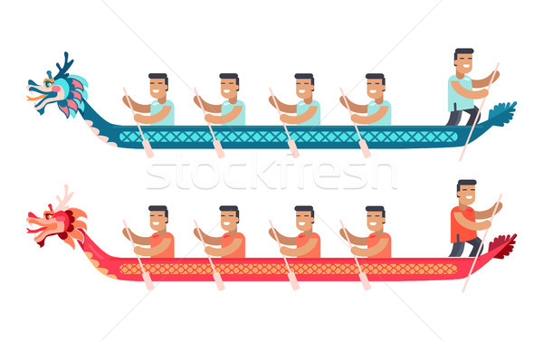Asian Men in Long Boats in Shape of Dragon Set Stock photo © robuart