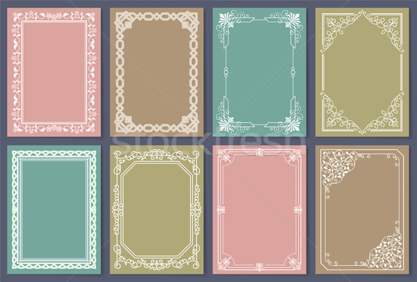 Collection of Frames White Color Isolated Vector Stock photo © robuart