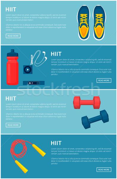 Sport felszerlés szett színes vektor szalag Stock fotó © robuart