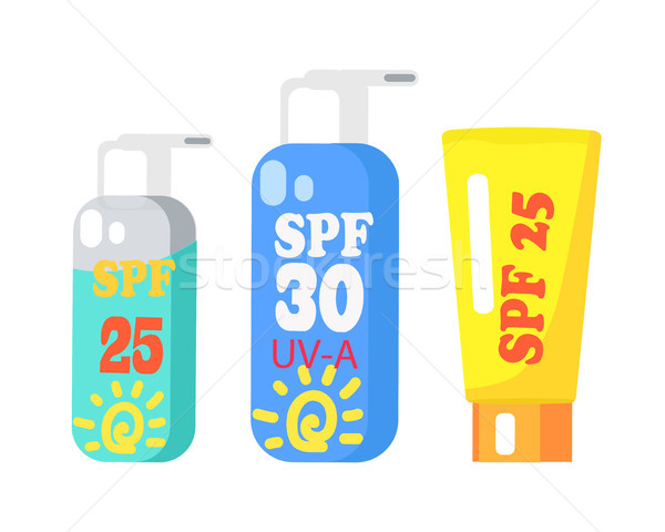 SPF Creams Collection of Three Isolated on White Stock photo © robuart