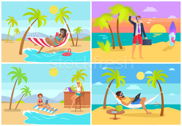 Freelancers Collection Seaside Vector Illustration Stock photo © robuart