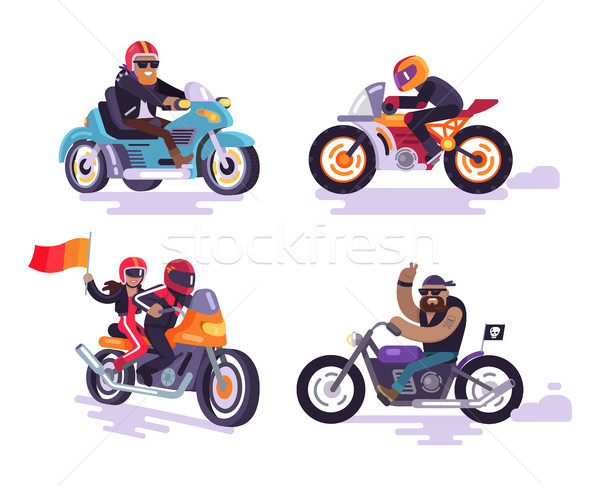 Stock photo: Bikers Ride Modern Motorbikes, Set Motorized Bikes