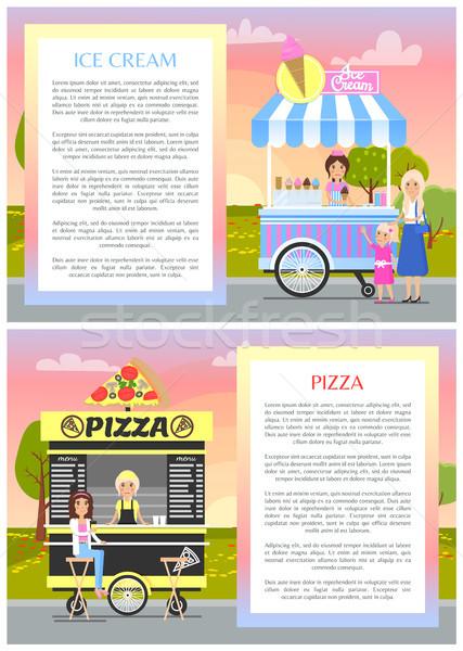 Dondurma pizza dükkanlar yaz park afiş Stok fotoğraf © robuart