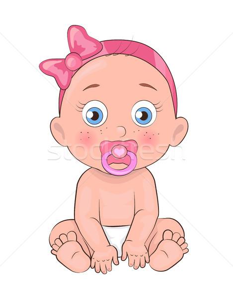 Recém-nascido menina criança chupeta boca fraldas Foto stock © robuart