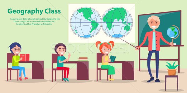 Geography Class at School Vector Illustration Stock photo © robuart