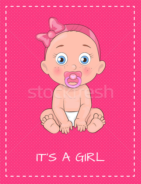 Its a Girl Poster Dedicated to Baby Shower Day Stock photo © robuart
